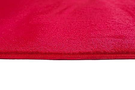 Tapiso Luxury Alfombra de Pasillo Cocina Escalera Entrada Dise/ño Moderno Monocroma Rojo Pelo Corto Suave 70 x 10 cm