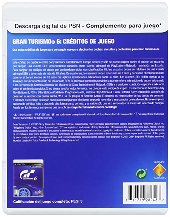 Sony - Tarjeta PSN GT6 - 2.5 Millones De Créditos (PS3 ...