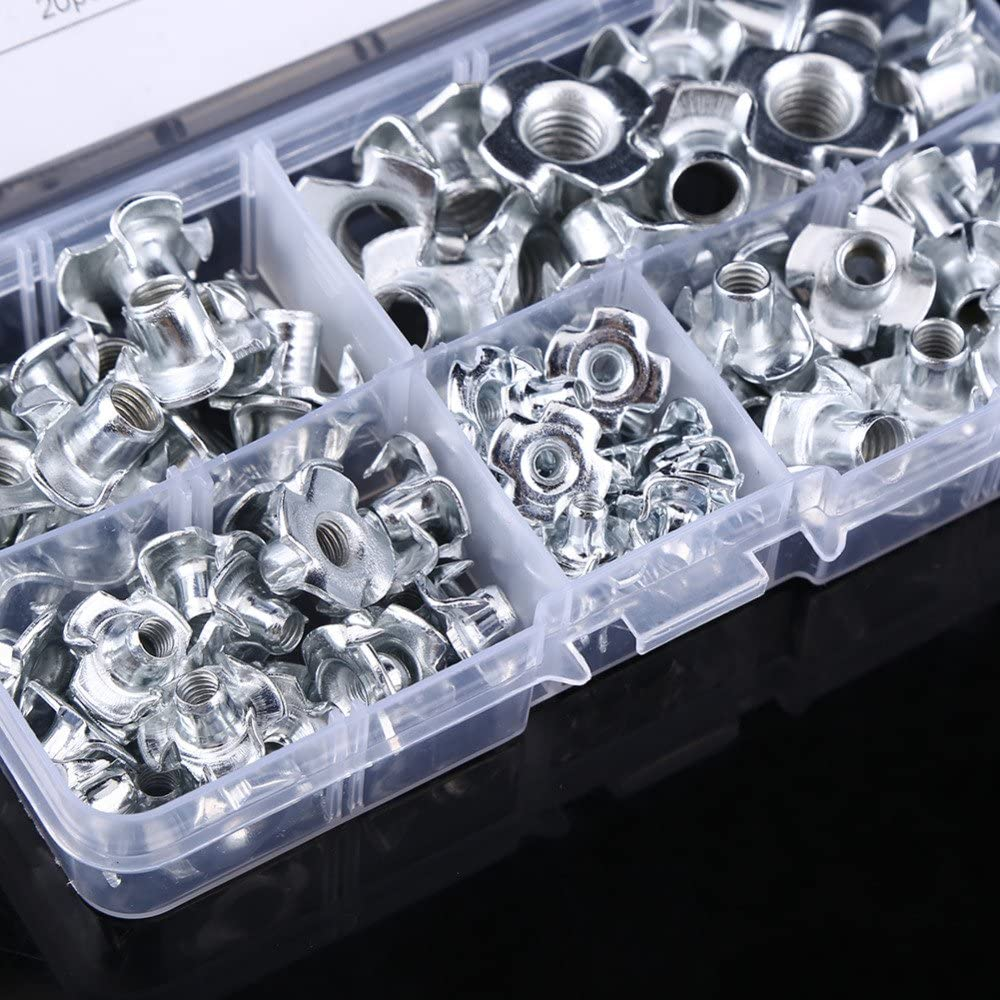 Nitrip 90pcs Carbon Steel M3//M4//M5//M6//M8 Four Pronged T Nuts Blind Inserts Nut for Wood Furniture