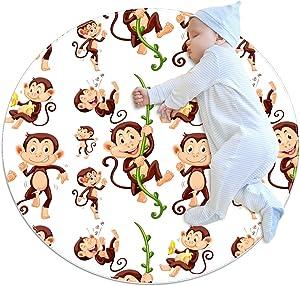 Sock Monkeys Round Area Rug Microfiber Non-Slip Machine Washable Circular Rugs Living Room Bedroom Study Yoga Soft Carpet Floor Mat Accent Home 80CM