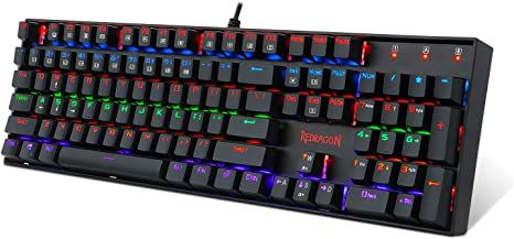 Redragon K552W KUMARA LED Rainbow Backlit Mechanical Gaming Keyboard Small White