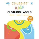 No-Iron Kids Clothing Labels, Stick-On Fabric Labels for Camp, Daycare, Washer & Dryer Safe, Pack of 80