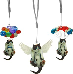 Jetec 3 Pieces Cat and Balloon Car Hanging Ornament Car Hanging Ornament with Colorful Balloon Cat and Wing Hanging Ornament Car Hanging Ornament for Car Interior Decor, Party, Home and Office