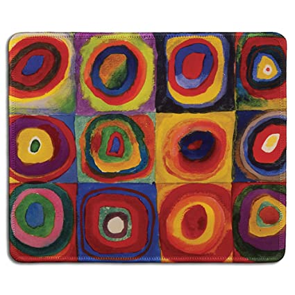 Dealzepic Art Mouse Pad Natural Rubber Mousepad With Famous Fine Art Painting Of Abstract Art Squares With Concentric Circles By Wassily Kandinsky