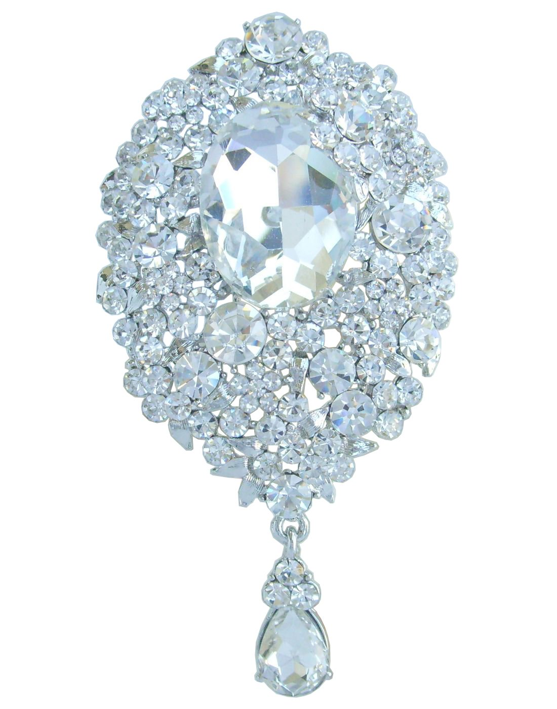 Sindary Wedding 3.94'' Silver Tone Clear Rhinestone Crystal Bridal Teardrop Brooch Pin Pendant BZ4882