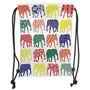 Drawstring Backpacks Bags,Elephants Decor,Colorful Elephants ...