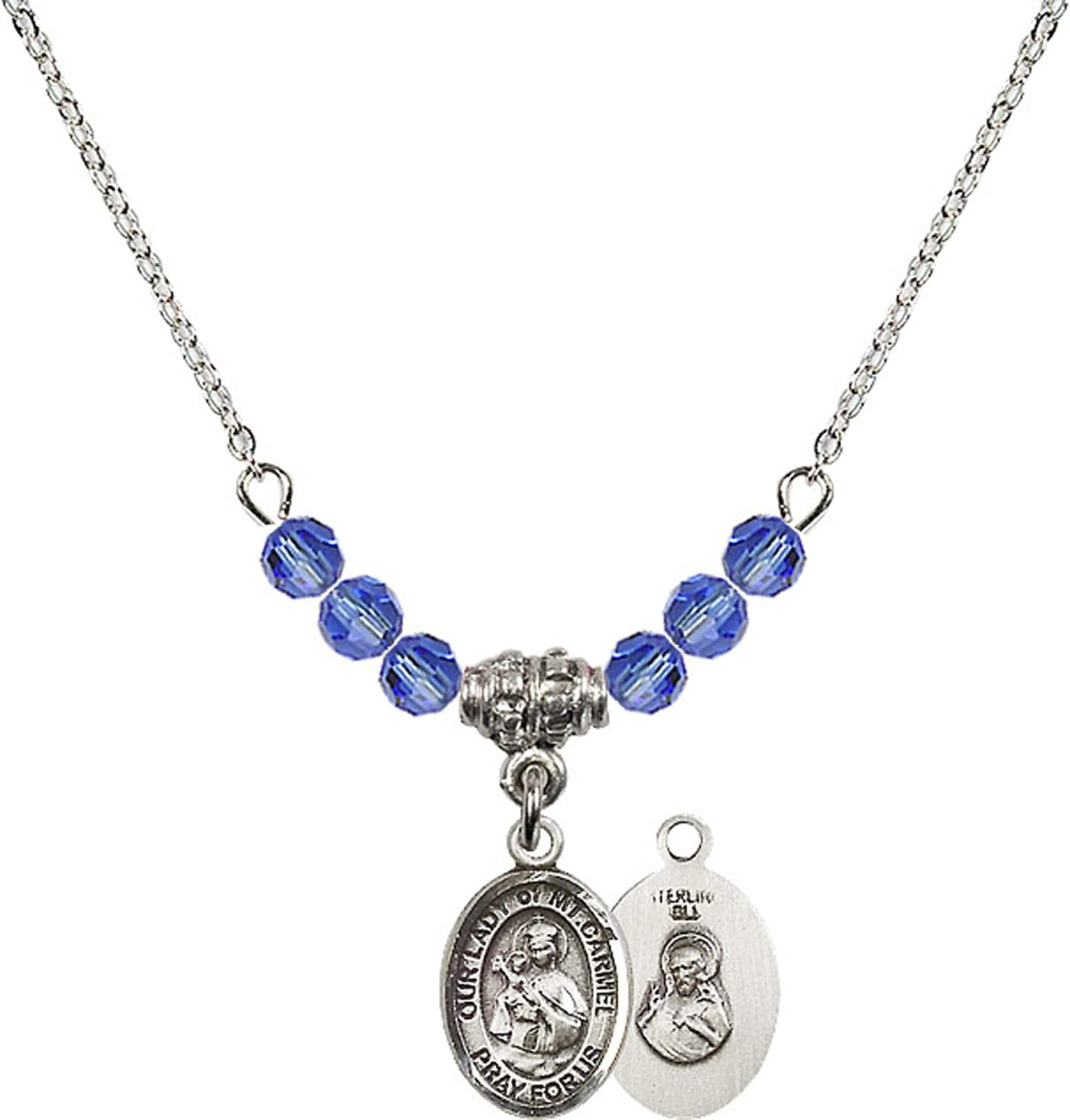 Bonyak Jewelry 18 Inch Rhodium Plated Necklace w// 4mm Blue September Birth Month Stone Beads and Our Lady of Mount Carmel Charm