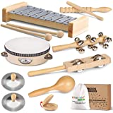 LOOIKOOS Toddler Musical Instruments, Eco Friendly Musical Set for Kids Preschool Educational, Natural Wooden Percussion Inst