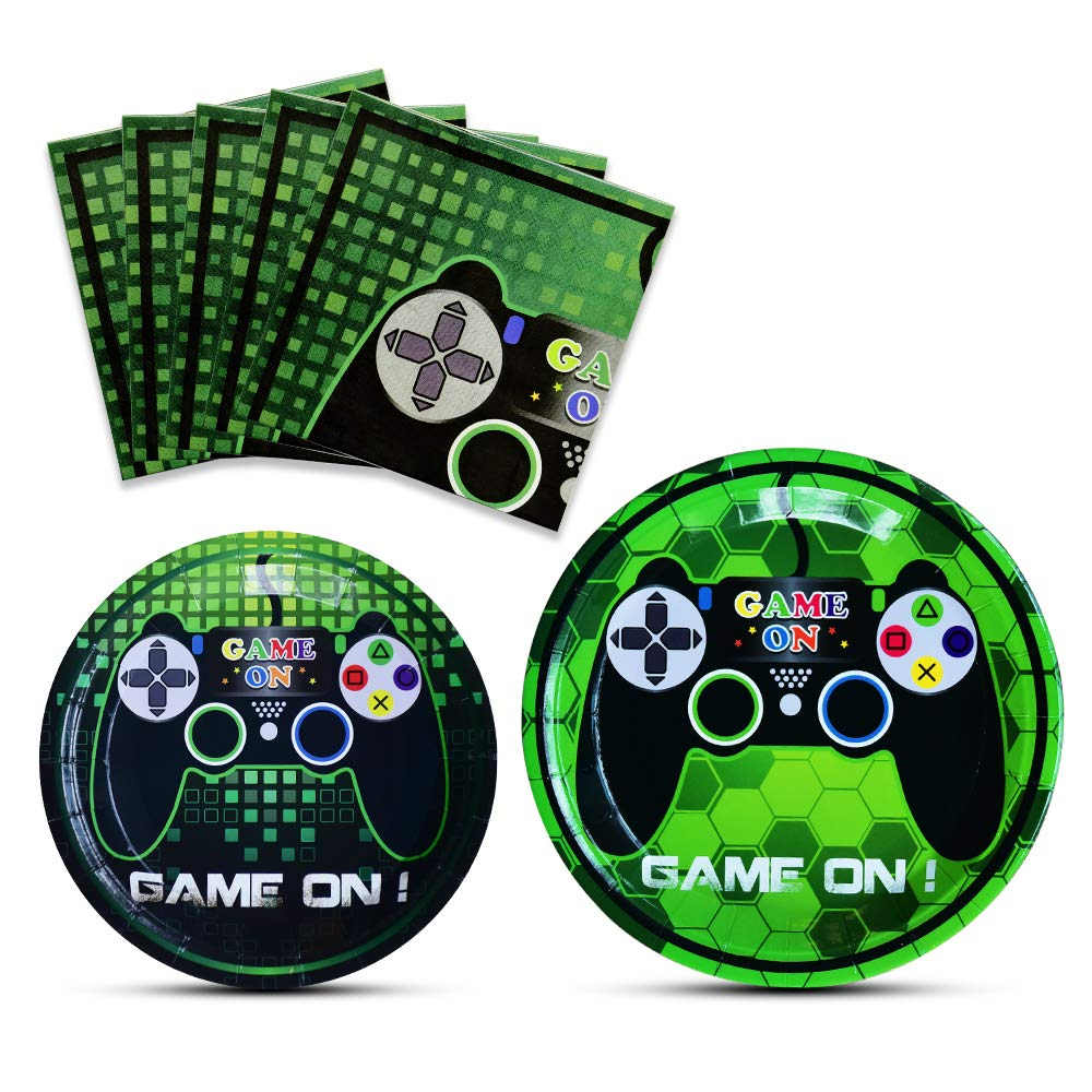 WERNNSAI Game Party Supplies Kit - Video Game Themed Party Packs for Boys Kids Birthday Baby Shower Game Lovers Dinner Dessert Plates Napkins Serves 16 Guests 48 Pieces by WERNNSAI
