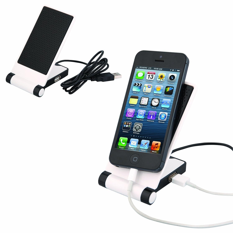 バッグfor Less USB滑り止め電子機器ホルダーと充電器ブラック/ホワイト   B00HSGUY8M