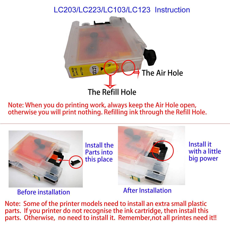 LC123 - Cartucho de Tinta vacío Recargable Compatible con ...