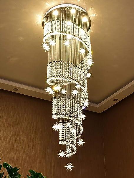 GWFVA Luces Colgantes de Las escaleras del Edificio dúplex de la Escalera Moderna para Las lámparas largas de Cristal de Las lámparas de Villaloft (Color: luz cálida, tamaño: 70 * 260cm): Amazon.es: