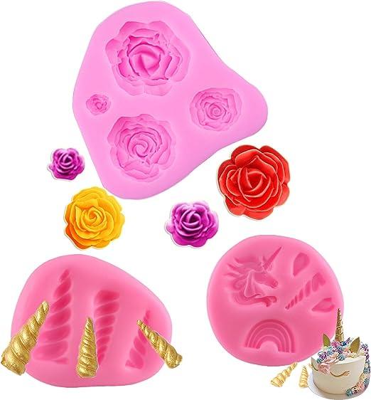 Mujiang Unicorn Rain Silicone Cake Topper Molds Fondant Candy Cake Decoration Molds Unicorn Horn Ears and Eyelash Set 2 Pcs//set