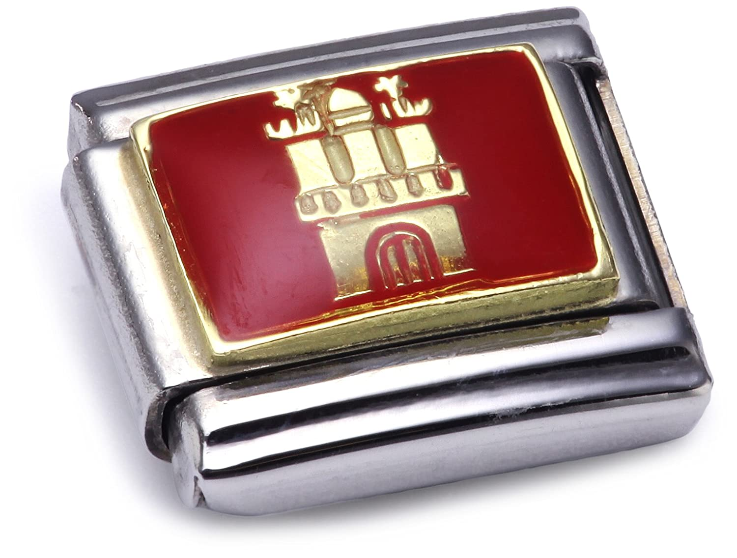 Nomination Composable Classic Germany Stainless Steel,Enamel and 18K Gold (Flagge von Hamburg) 030241