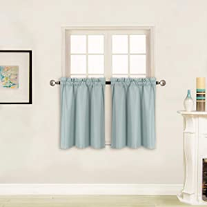 """Better Home Style 100% Blackout 2 Panels Tiers Window Treatment CurtainInsulated Drapes Short Panels for Kitchen Bathroom or Any Small Window M3024 (Sky/Light Blue, 2 Panels 28"""" W X 24"""" L Each)"""