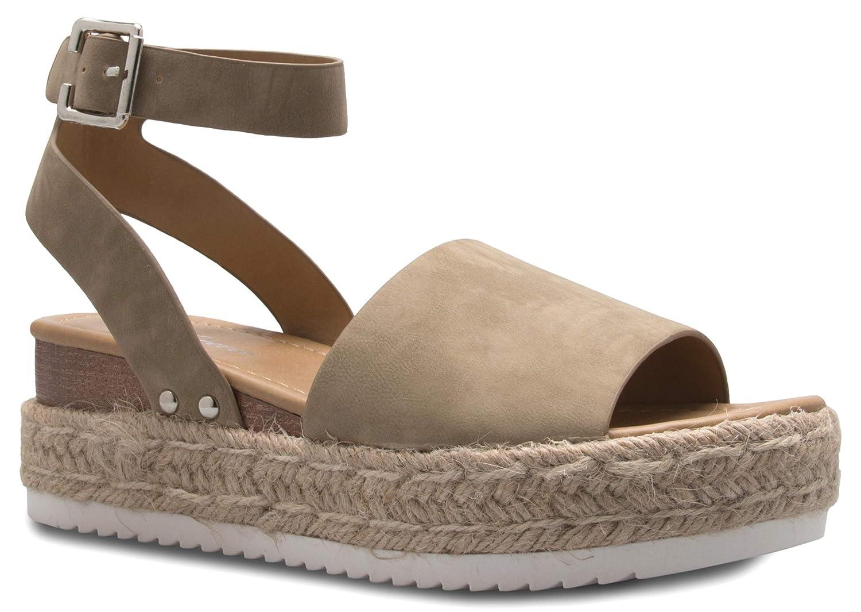 529c076ff0e SODA Womens Topic Espadrille Sandal Shoes Natural Nubuck 8.5