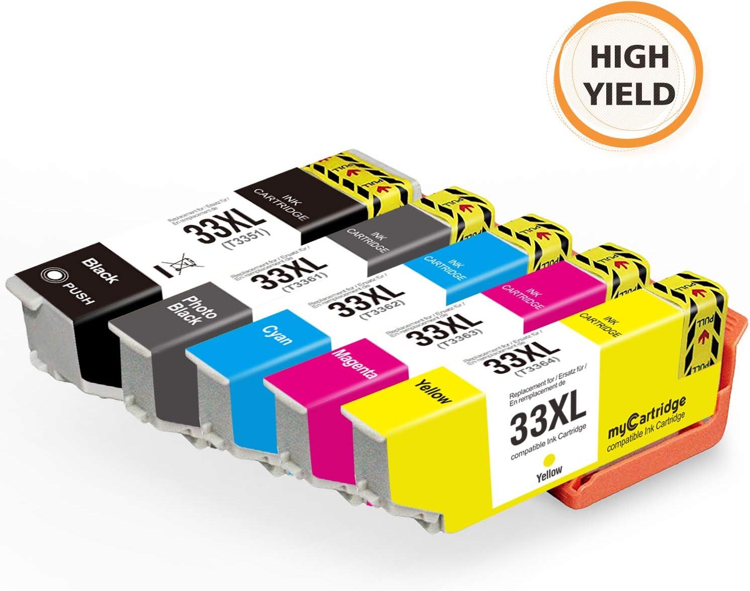 Mycartridge 5 Compatible Epson 33XL Cartuchos de tinta con Epson ...