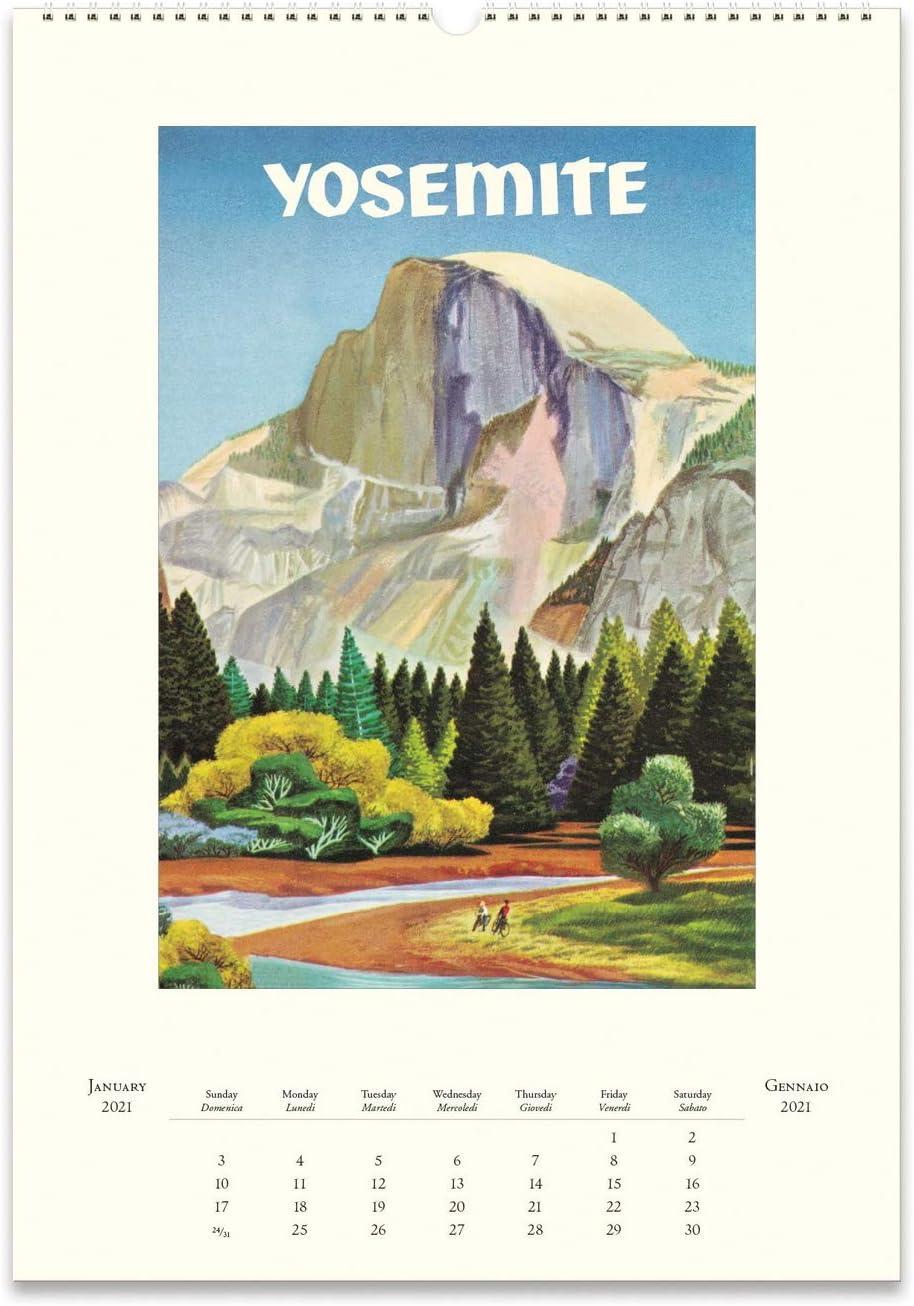 Cavallini 2021 Desk Calendar Vintage National Parks Posters CAL21-36