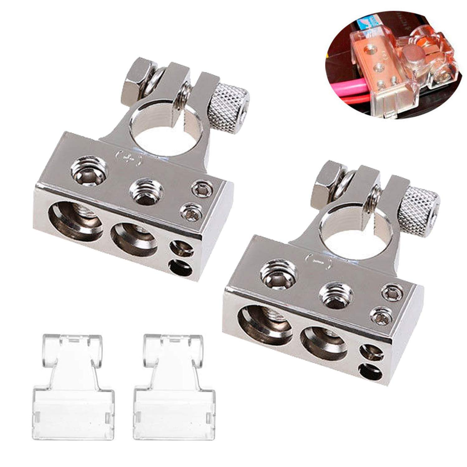 COROTC Battery Terminal Connectors, 0/4/8/10 Gauge AWG Positive Negative, with 2 Clear Covers & Shims, Auto Car Audio Marine Boat Modification ¡ by COROTC