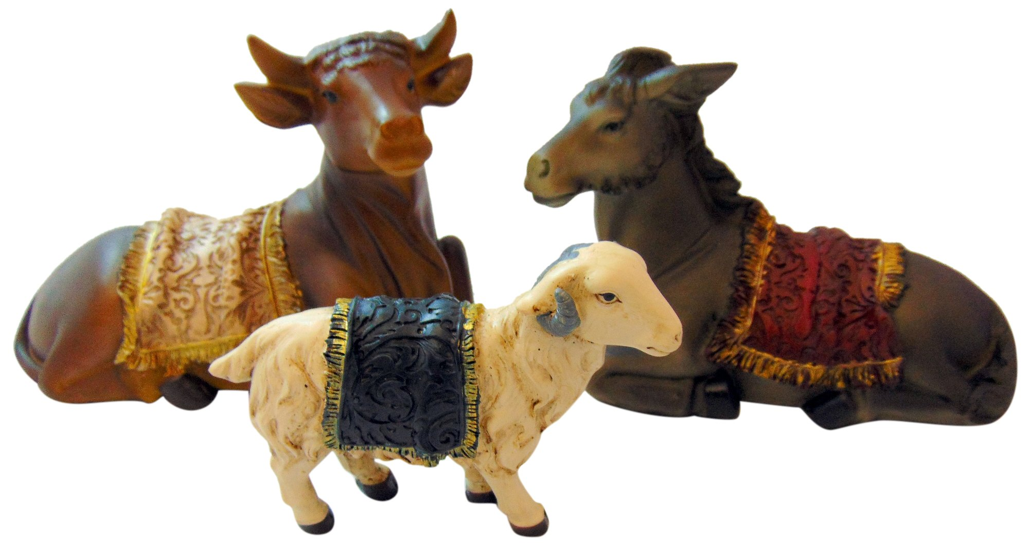 Westman Works Ox and Donkey with Sheep Nativity Animal Set Collectible Figurine Lot, 6 Inches Long