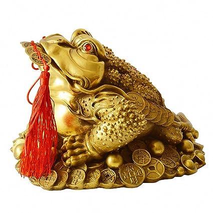 Amazon.com: Brass Feng Shui Money Frog (Three Legged Wealth Frog or ...