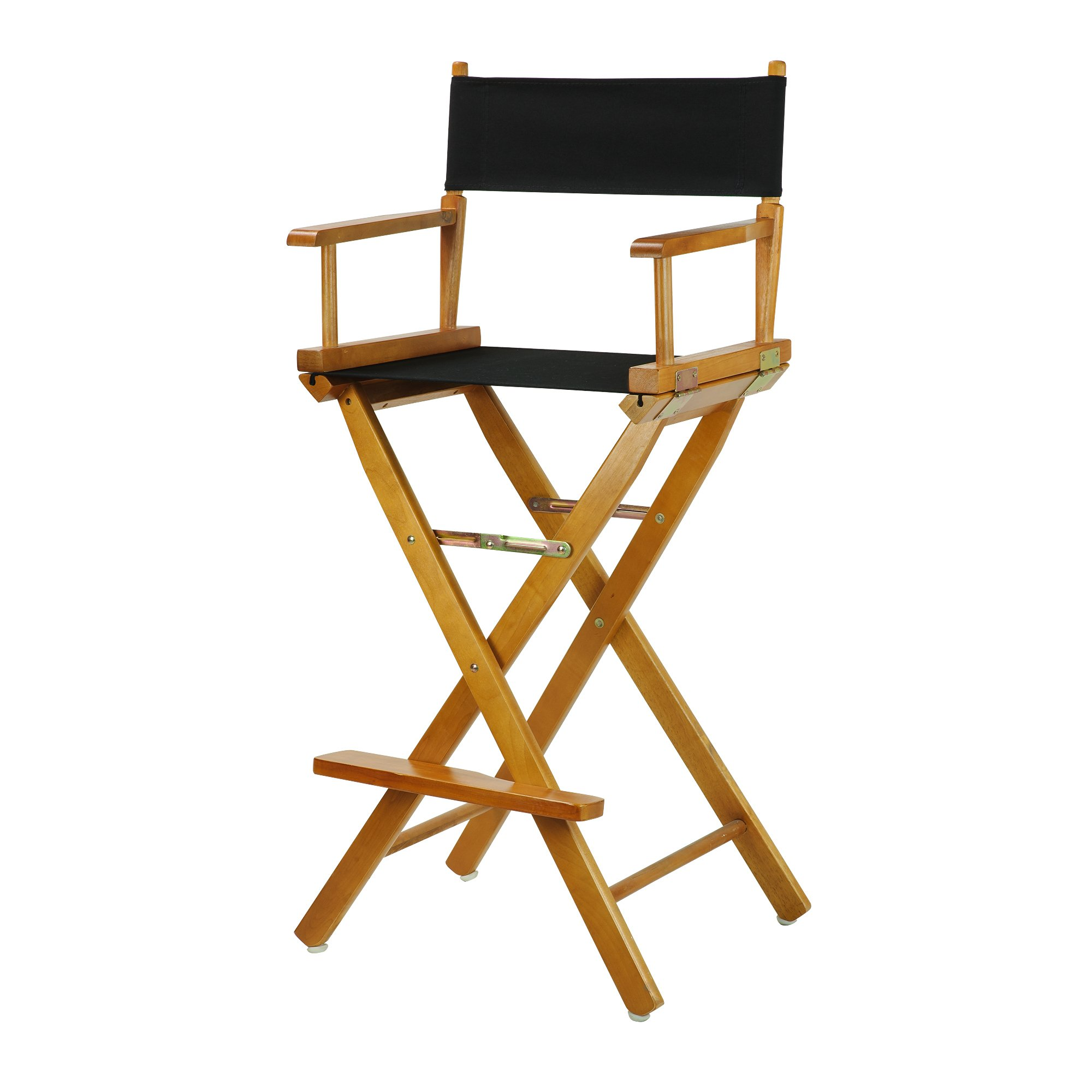 Casual Home 30'' Director's Chair Honey Oak Frame-with Black Canvas, Bar Height