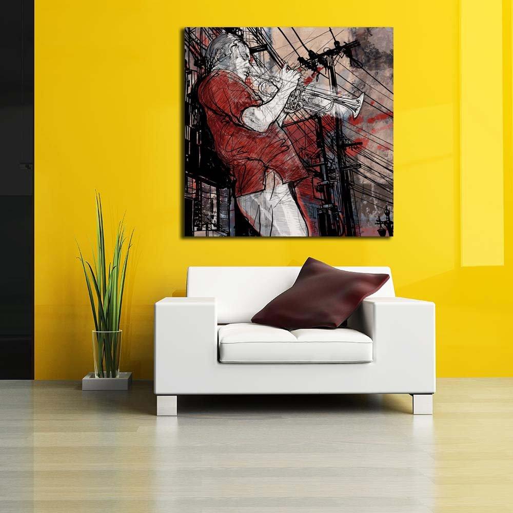 Amazon.com: PB Jazz Music Trumpet Musician Unframed Canvas Painting ...