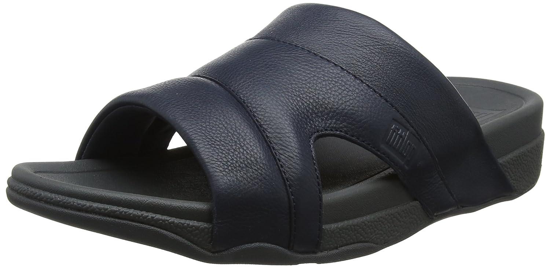 Fitflop Freeway Pool Slide In Leather, Sandalias con Punta Abierta para Hombre 42 EU|Azul (Supernavy 097)