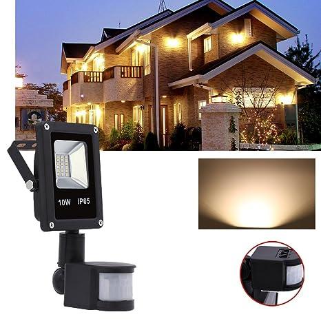 Hengda® 10W Blanco Cálido Foco proyector Exterior LED detección de movimiento PIR sensor Resistente al