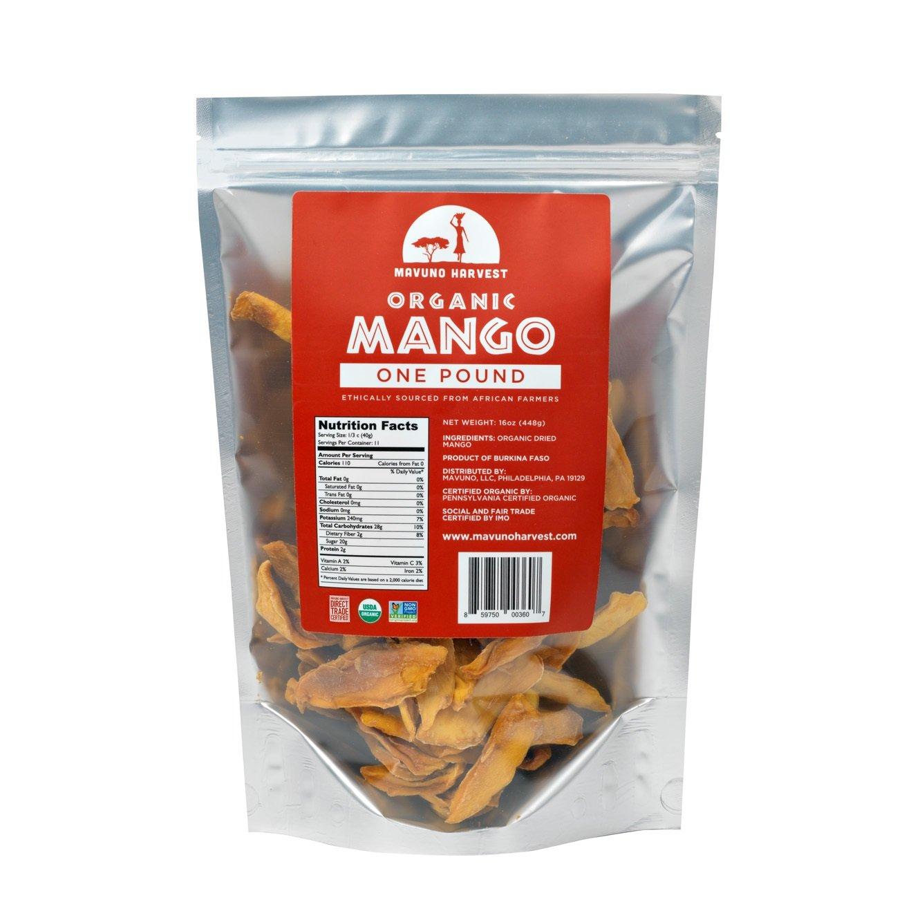 Mavuno Harvest Direct Trade Organic Dried Fruit, Mango, 1 Pound
