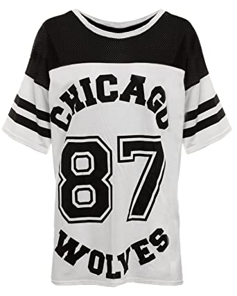 dd319d6c54ccb LADIES CHICAGO 87 WOLVES LONG MESH OVERSIZE BASEBALL BAGGY VARSITY SHIRT  TOP (M L