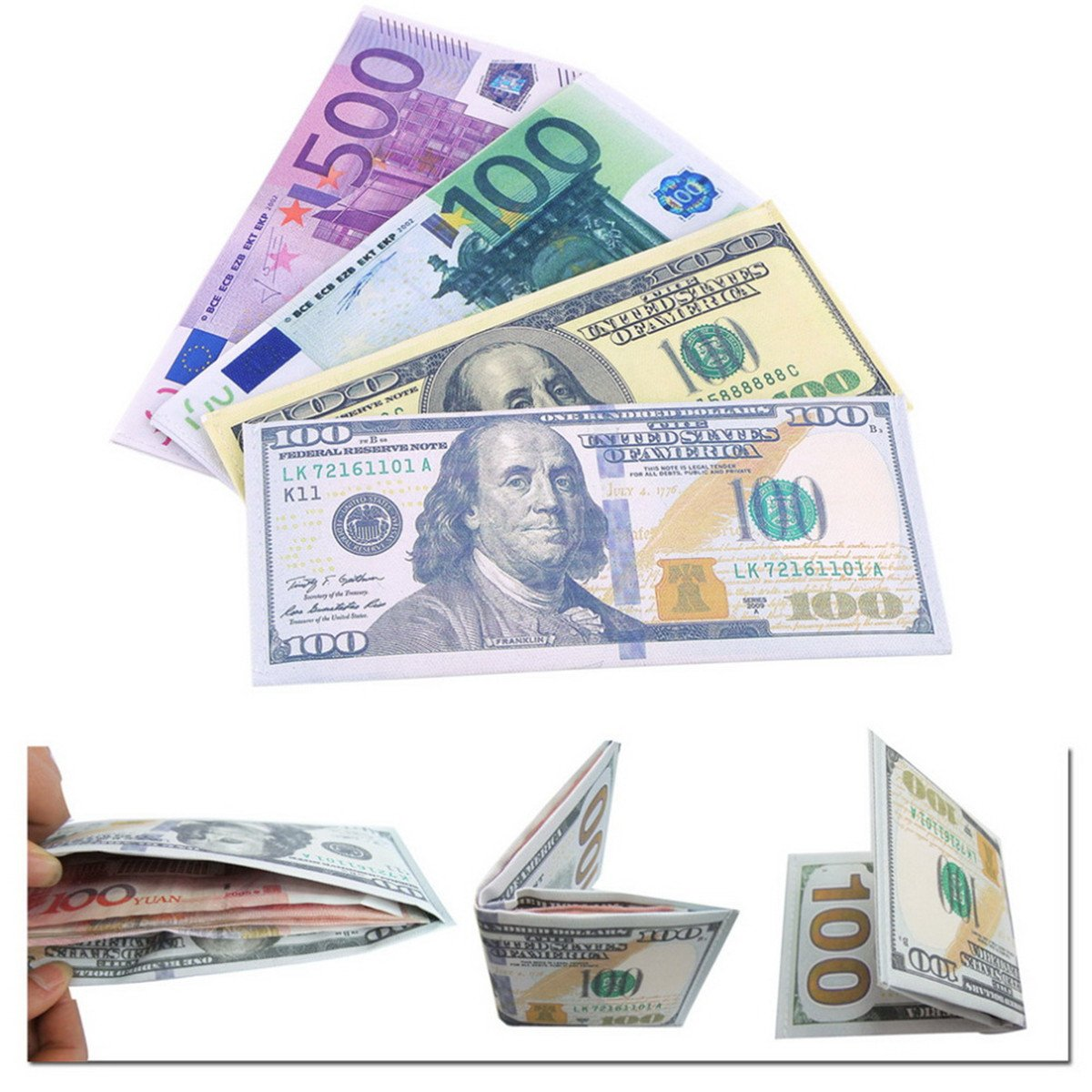 Fashion US Dollar Euro Pattern Bill Wallet PU Leather Credit Card Photo Holder Bi-Fold