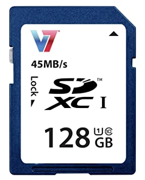 V7 SDXC Memoria 128GB UHS-1 - Tarjeta de memoria (128 GB, Secure Digital Extended Capacity (SDXC), 45 MB/s, Azul, CE, FCC, WEEE, 2,4 cm)