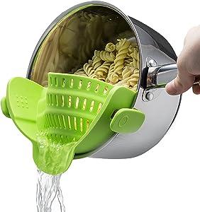 VSILE Silicone Pot Food Strainer,Adjustable Snap On Strainer for Pans & Pots,Clip-on Kitchen Food Strainer for Draining Pasta,Fruits&Vegetables