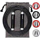 Weighted Jump Rope - Heavy Jump Ropes with Adjustable Extra Thick Cable, Aluminum Silicone Grips Handles, High-Speed…