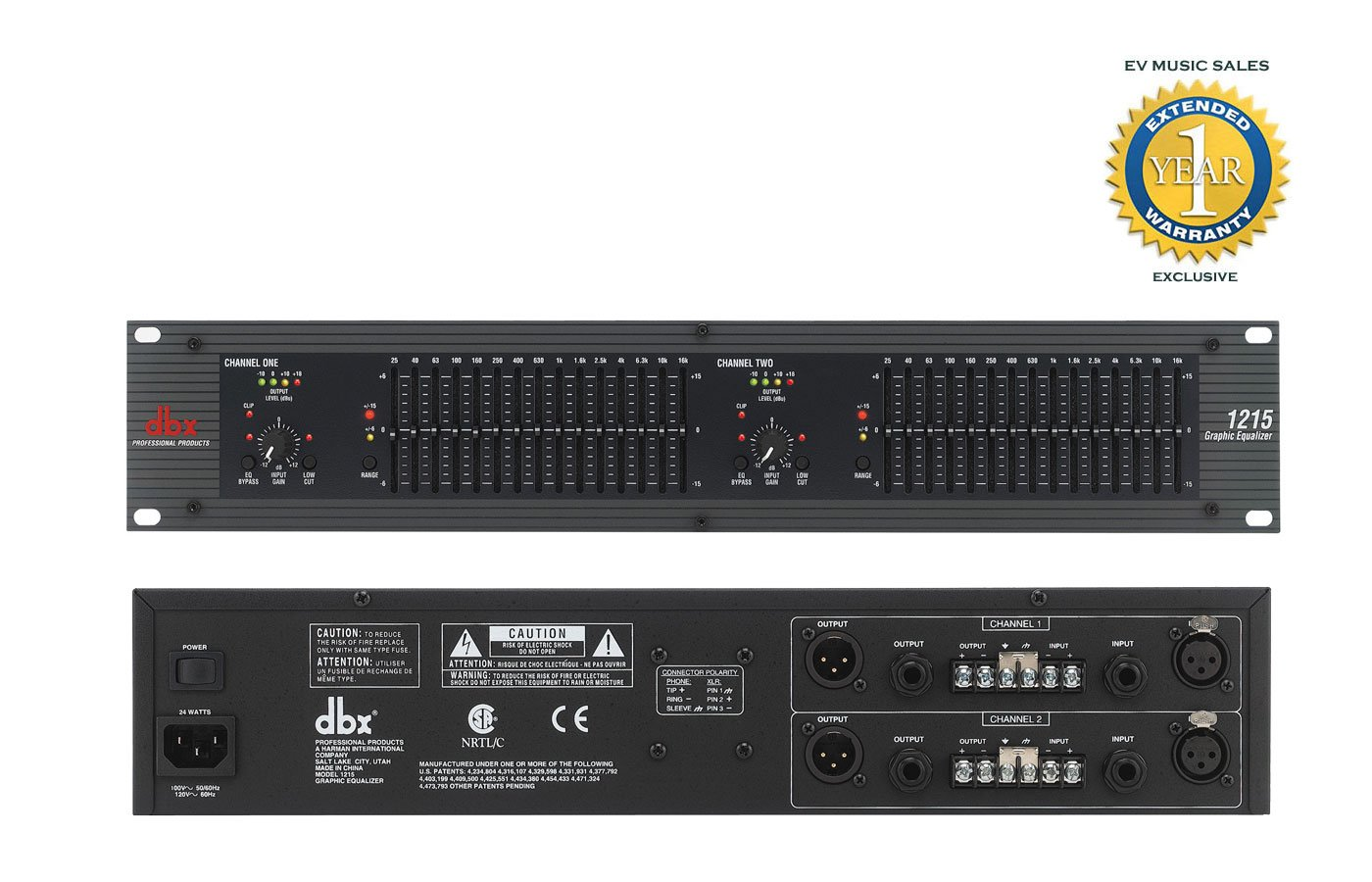 dbx 1215 Dual Channel 15-Band Equalizer with 1 Year Free Extended Warranty
