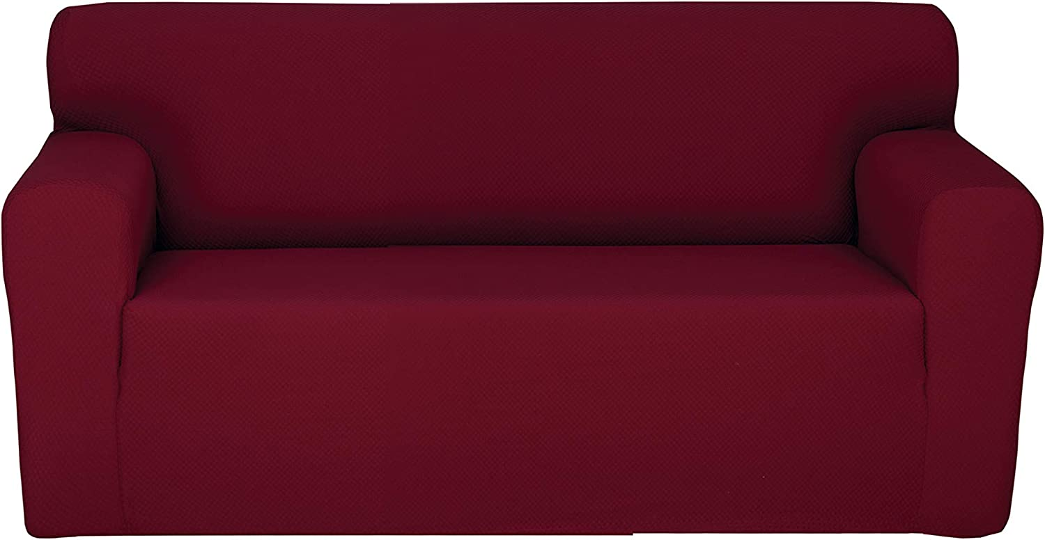 Chiara Rose Couch Covers for Dogs Sofa Cushion Slipcover 2 Seater Furniture Protectors, Loveseat, Burgundy