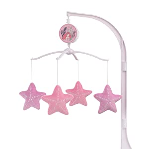 Disney The Little Mermaid Pink, Aqua & Coral Ariel Cute by Nature Musical Mobile, Coral, Pink, Aqua,