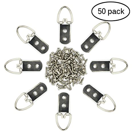 eZAKKA 50 Pieces D Ring Picture Frame Hangers Hanging Double Hole