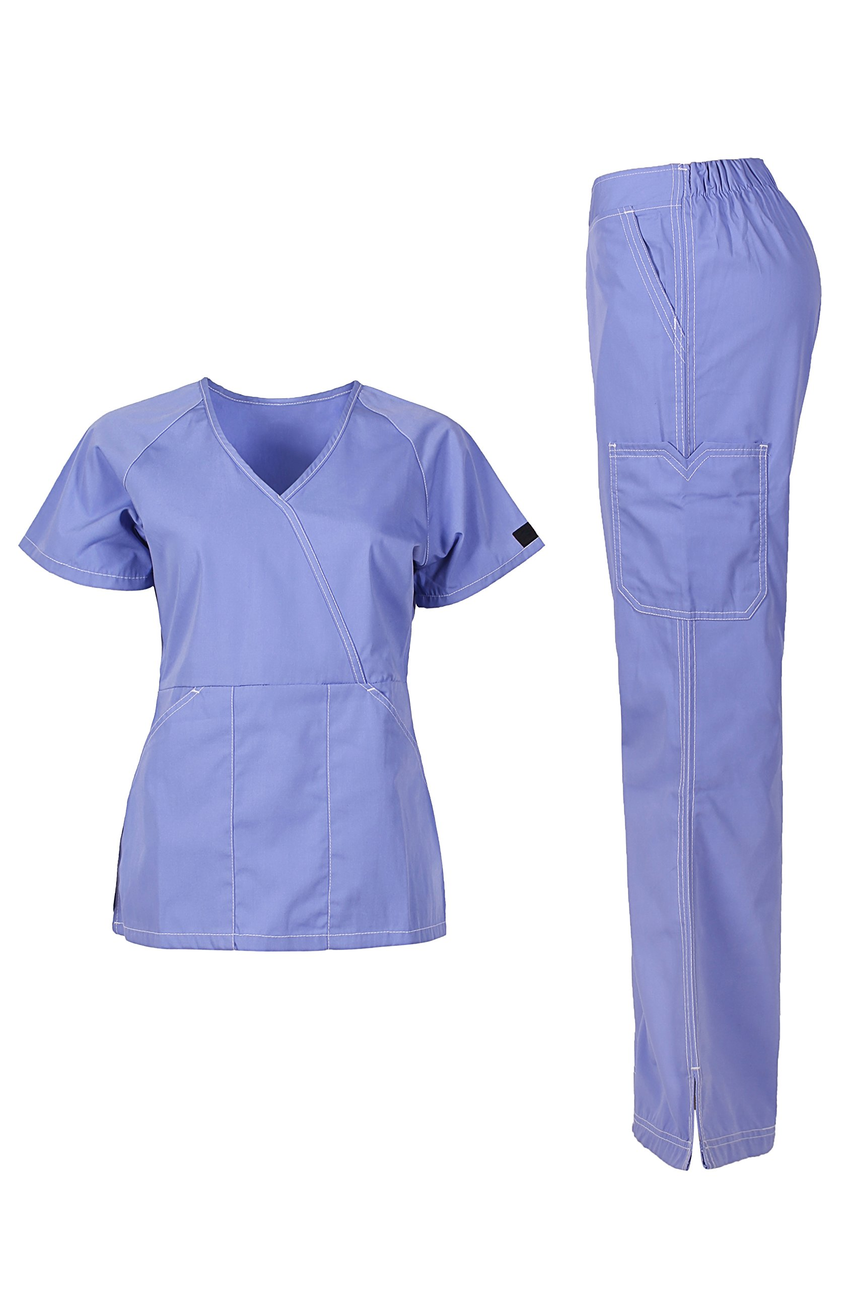 MedPro Women's Medical Scrub Set (Top & Bottom) Light Blue M (5666)
