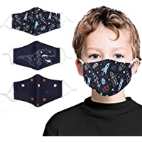 Kids Face Mask Washable Cotton Fabric Cloth Face Mask 2 Layer with Adjustable Elastic Ear Loops Face Reusable Children…
