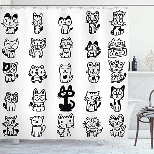 Black White Cat Face Shower Curtain Bath Accessory Sets Polyester Fabric /& Hooks