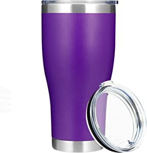 MANYHY 30oz Stainless Steel Insulated Tumbler 1 Pack, Large Thermal Travel Cup with Lid, Double Wall Vaccum Powder Coated Coffee Mug for Cold Drinks and Hot Beverage (Purple, 1)
