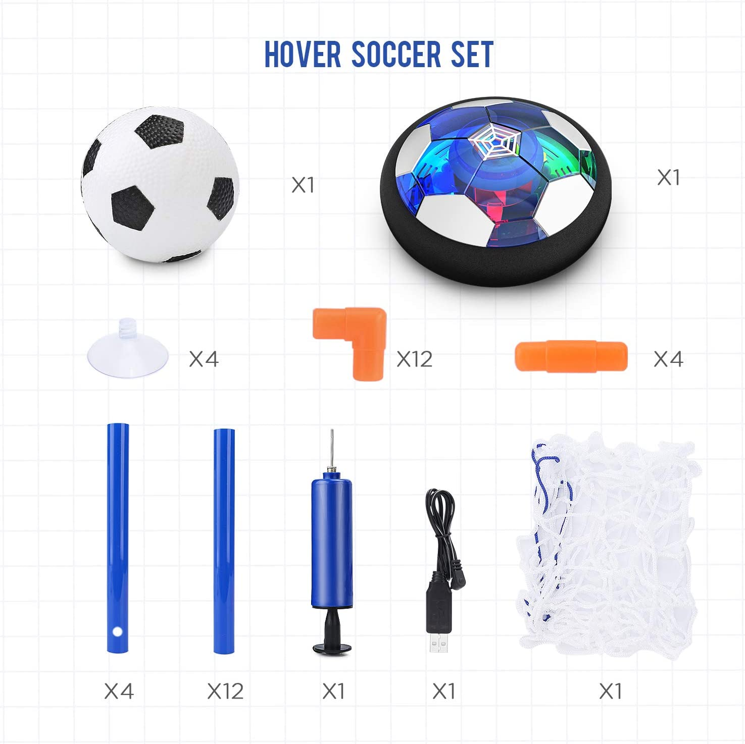 CUKU Kids Toy,Hover Soccer Ball Toys for 3 4 5 6 7 8 Years Old Boy Girl , 2 Goals and Inflatable Ball,Indoor Floating Soccer with LED Light and Safe Bumper(No AA Batteries Needed) (Blue): Toys & Games