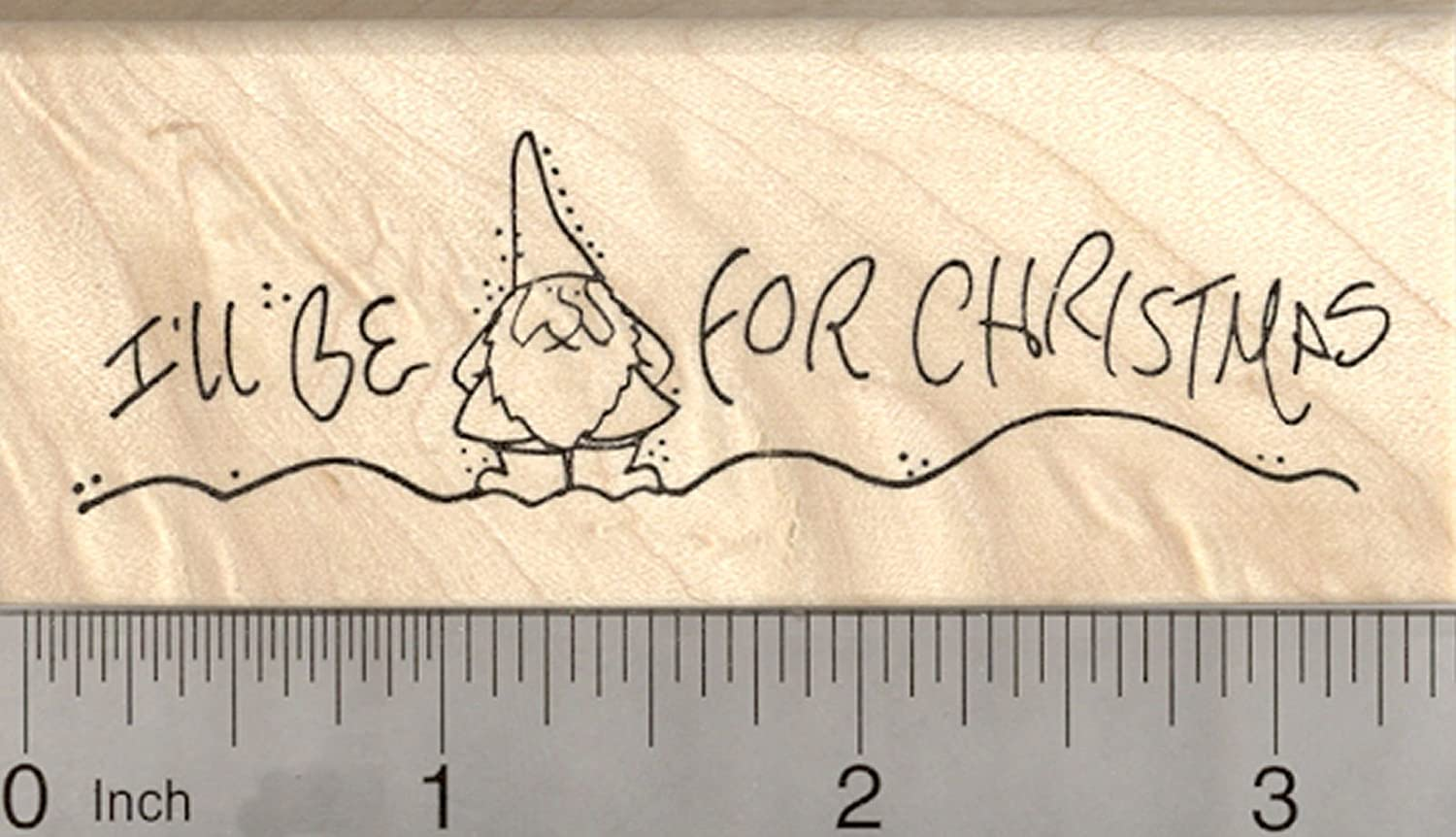 Gnome Christmas Rubber Stamp, I'll be Home