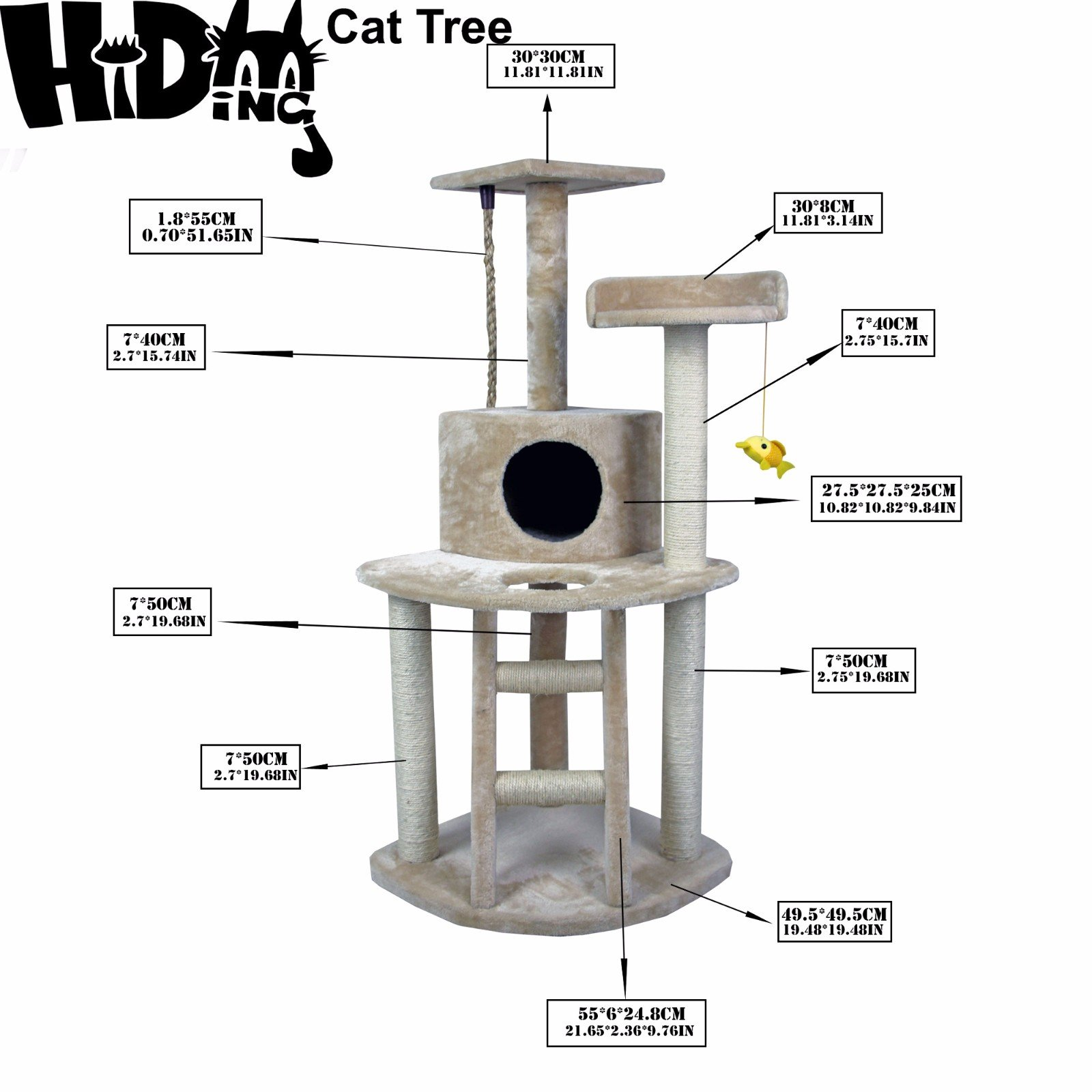 EliteMailers 48'' Modern Cat Tree Tower Condo Furniture Scratch Post Kitty Pet House Play Furniture Sisal Pole and Ladder Stairs (Beige) by HIDING