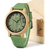 BOBO BIRD Unisex Japan Analog Quartz Mens Womens Wood Watch Green Dial Silicone Band with Green Secondhand Pointer Best Xmas Gift