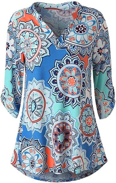 Proumy Camiseta Étnica de Mujer con Manga Blusa Cuello V Camisa Floral Multicolor Vestido Estampado de Flores Colores Elegante Tank Top con Impresión de Talla Grande: Amazon.es: Ropa y accesorios