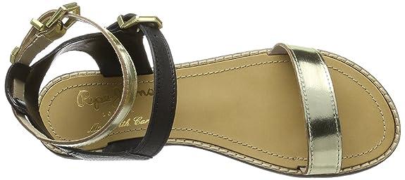 Pepe Jeans London RU-293 A PLS90029 999 - Sandalias de cuero para mujer, color negro, talla 39