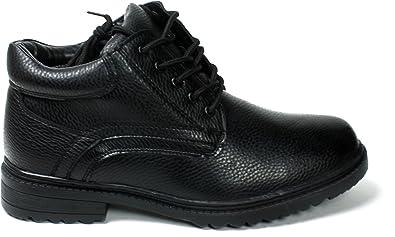 Men's Black Winter Snow Boots Shoes Faux Fur Lined Warm Wide CLF-02 Black-8.5